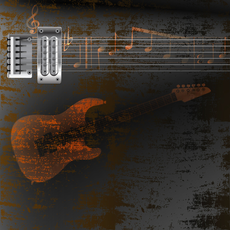electric iron: vector illustration background music, a steel string electric guitar on rusty iron sheet and notes Illustration