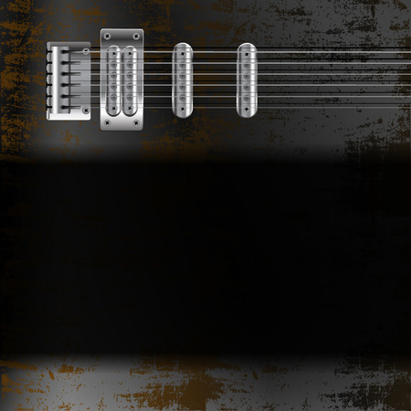 steel sheet: vector illustration background music, a steel string electric guitar on rusty iron sheet with black frame
