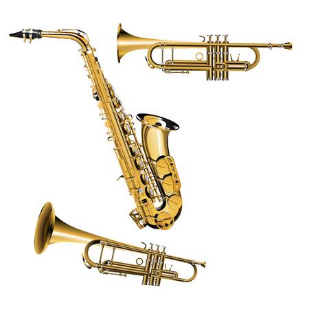 trompeta: ilustración vectorial de trompeta en diferentes proyecciones con plata y objetos de oro Saxofón Vectores
