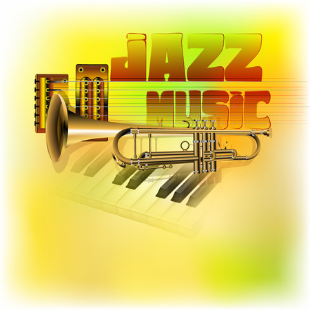 vector illustration of a jazz background music, trumpet, guitar strings on the background Clavey piano with blurred multicolored texture Vectores