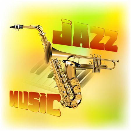 pianoforte: vector illustration of a jazz background music, trumpet intersection with the saxophone, guitar strings on the piano with blurred background colored texture