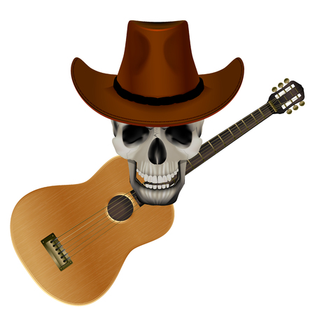 music poster: vector illustration Skull wearing a cowboy hat on a background of acoustic guitar Illustration