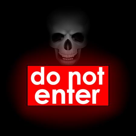 do not enter sign: Vector illustration do not enter burning red sign and a sign of skull and bones in the dark background Illustration