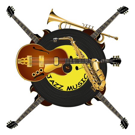 vector illustration jazz music pattern with a guitar, vinyl, saxophone and trumpet, isolated object