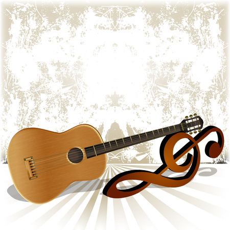 vector illustration pattern surround acoustic guitar rests on the treble clef