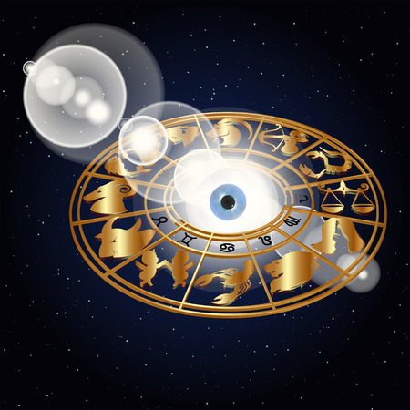correspond: vector illustration of zodiac signs in the space around the eyes in the golden design, drawings and symbols correspond to the names on the sign horoscope.