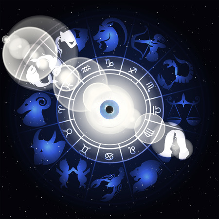 correspond: vector illustration of zodiac signs in the area around the eyes with a clarification, drawings and symbols correspond to the name on the sign of the horoscope. Illustration