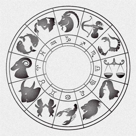 signes du zodiaque: illustration vectorielle de signes du zodiaque dispos�es en cercle avec l'effet de l'estampage sur toile Illustration