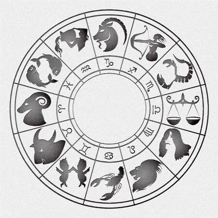 zodiacal signs: vector illustration of zodiac signs arranged in a circle with the effect of stamping on canvas Illustration