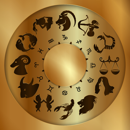 prophecy: Vector illustration of zodiac signs on a gold disk in the center of the star the sun Illustration