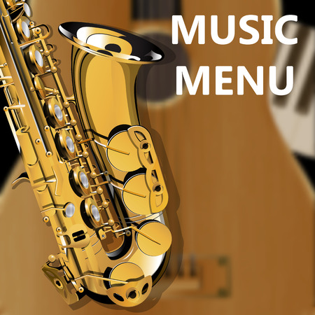 piano closeup: Vector Illustration saxophone closeup on blurry background acoustic guitar and piano Clavey. Template music menu.