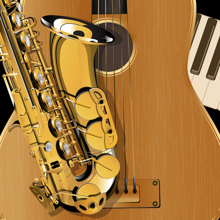 piano closeup: Vector Illustration saxophone closeup on background acoustic guitar and piano Clavey. Template music. Illustration