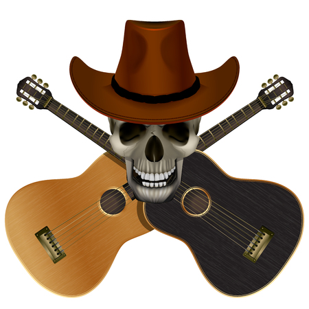 isolation: Vector illustration Skull in cowboy hat on a background of overlapping guitars light and dark colors. Isolation object.