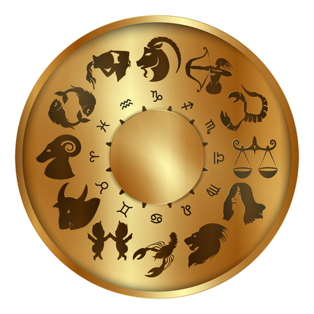foretell: Vector illustration of zodiac signs on a gold disk in the center of the star the sun, isolated object Illustration