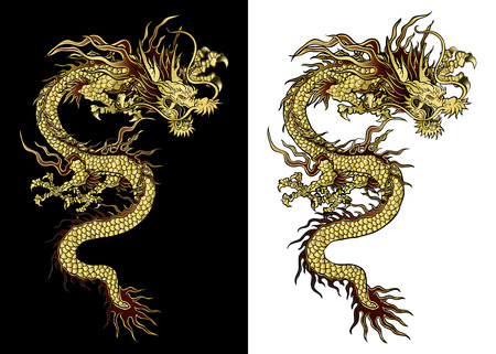 vector illustration Traditional Chinese dragon gold on a black background and a white background. Isolated object. Template design is suitable for any illustrations. Vettoriali