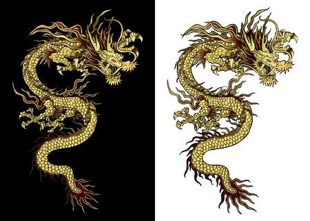 cultura: ilustración vectorial tradicional de oro dragón chino en un fondo negro y un fondo blanco. Objeto aislado. Diseño de la plantilla es adecuada para cualquier ilustración.