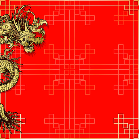 the red dragon: vector illustration pattern with golden ornament Chinese red background with a Chinese dragon. Can be used as a template for a menu or billboard or as a background.