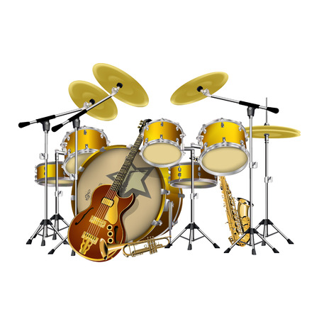 jazz drums: vector illustration instruments jazz band drums, guitar, saxophone and trumpet, isolated object on a white background, can be placed on any graphics work both individually and as a whole.