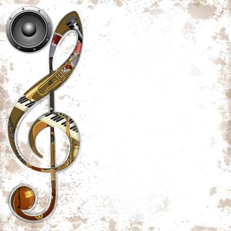 vector illustration of musical background instruments in the hole treble Clef trumpet, saxophone, piano keys, jazz guitar, acoustic guitar and an audio speaker Vectores