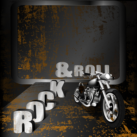 motobike: vector illustration motobike on rusty iron background with a volume labeled Rock and Roll