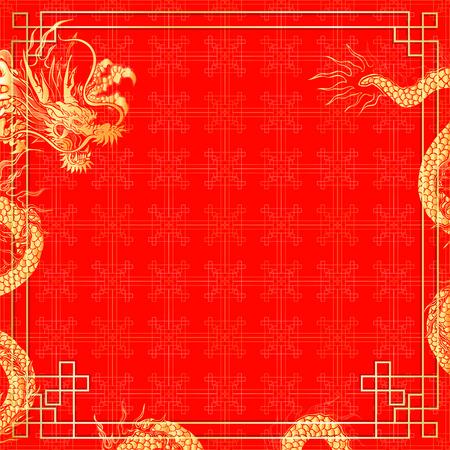 illustrazione vettoriale modello con ornamenti d'oro cinese sfondo rosso con un dragone cinese. Può essere utilizzato come modello per un menu o cartellone pubblicitario o come sfondo.