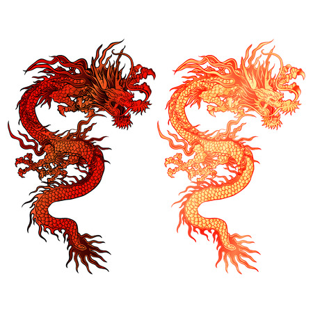 vector illustration of a red Chinese dragon two color options with lighting. Isolated object can be placed on any of your work or be used separately.