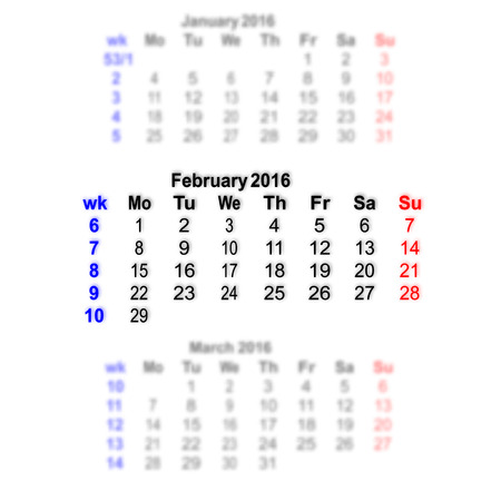 subsequent: Vector illustration 2016 calendar grid. Month on a blurred background of previous and subsequent months. All characters on a transparent background can be placed on any image. Week starts on Monday.