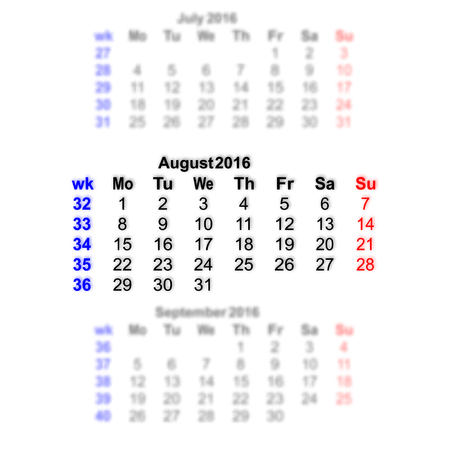 event planner: Vector illustration 2016 calendar grid. Month on a blurred background of previous and subsequent months. All characters on a transparent background can be placed on any image. Week starts on Monday.