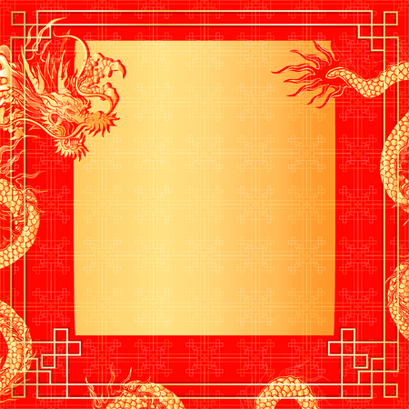 Vector illustration of a frame with a red dragon gold-colored sticker.It can be used as a poster or paper notes.