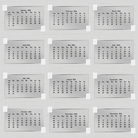 vector illustration calendar of 2016 sheets of paper each month