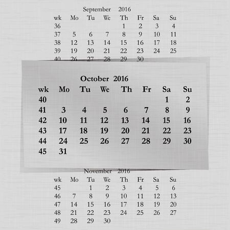 event planner: Vector illustration of a calendar month for 2016 pages in October, against the background of the previous month and next month. Week starts on Monday. The image can be applied to any image.