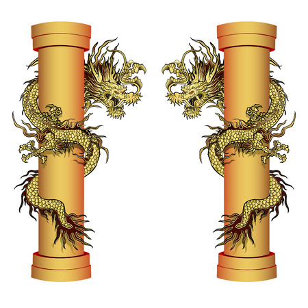 vector illustration golden dragon on the pole. Traditional Chinese dragon encircles the column. Isolated element in two proektsiyah.It can be used in combination with any images or separately.