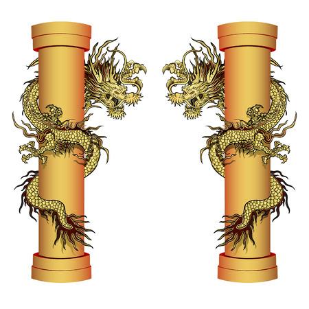 vector illustratie gouden draak op de paal. Traditionele Chinese draak omringt de kolom. Geïsoleerd element in twee proektsiyah.It kan worden gebruikt in combinatie met afbeeldingen of afzonderlijk.