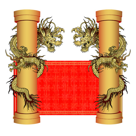dragon year: vector illustration golden dragon on the pillar. Traditional Chinese Dragon surrounds kolonnuna red scroll background. Elements in the two sides. It can be used in conjunction with any images or separately. Illustration