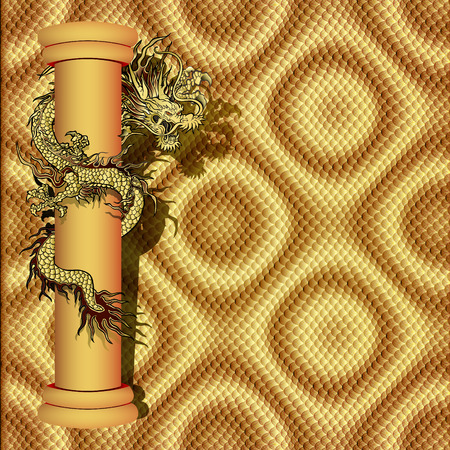 com escamas: Vector illustration dragon on the pillar in the scaly background, gold-colored sticker. It can be used as a poster or paper notes.