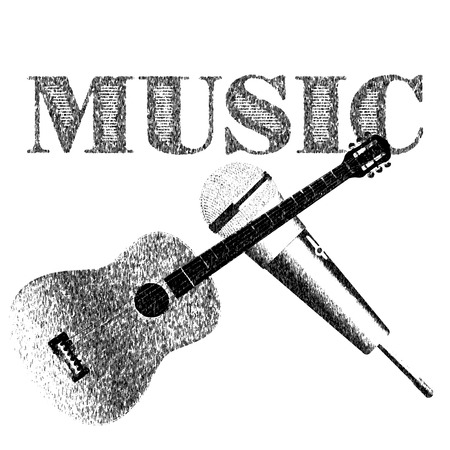 performers: Vector illustration line drawing guitar with a microphone. Isolated object with text music.