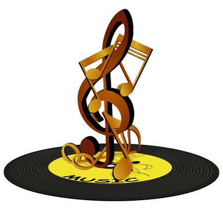 iconos de m�sica: Ilustraci�n vectorial de las notas musicales en la clave de sol, de pie sobre un disco de vinilo. Objetos aislados pueden ser utilizados en cualquier trabajo para el cartel o un cartel, as� como por separado.