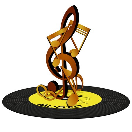 record: Vector illustration of musical Notes on the treble clef, standing on a vinyl record. Isolated objects can be used in any work for the billboard or a poster, as well as separately.