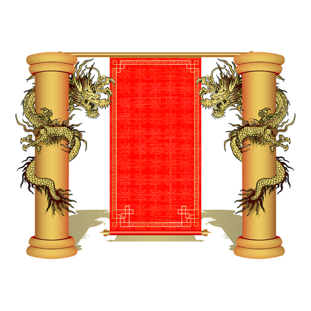Chinese scroll: Vector illustration of a Chinese golden dragon on the pillar with a scroll. Isolated object can be used with any of your images or separately.
