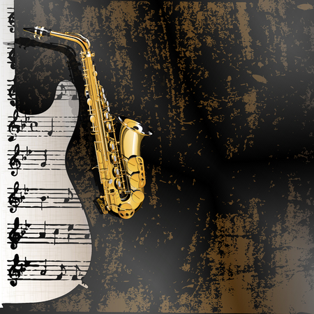 notation: Vector illustration of musical background in grunge style. Metal rusty background with a cutout from a guitar with a gold saxophone and sheet music notation in the background.