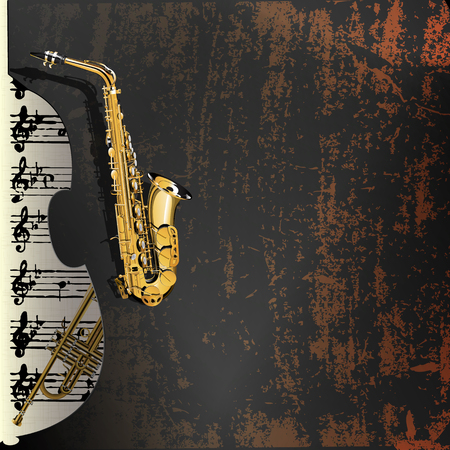 contrabass: Vector illustration of musical background in grunge style. Metal rusty background with a cutout of a violin or a saxophone Contrabass with gold leaf and music with a trumpet in the background. Illustration