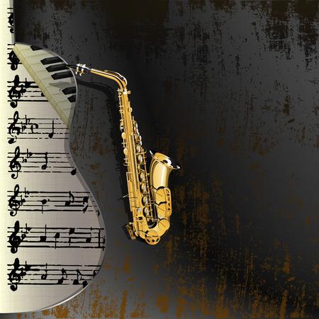 musica clasica: Vector ilustración de un saxofón en un fondo metálico oxidado con un recorte en forma de acústica, en el fondo hojas musicales y de piano keys.It se pueden utilizar como una valla publicitaria o por separado con cualquier texto.