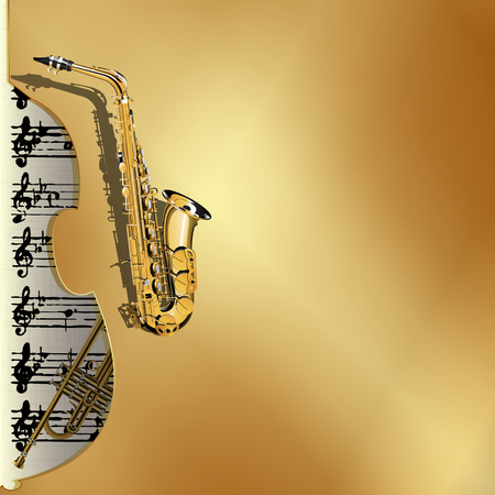 contrabass: Vector illustration of musical background in gold style. Metal gold background with a cutout of a violin or a saxophone Contrabass with gold leaf and music with a trumpet in the background.