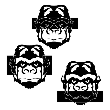 anyone: The image monkey made as a stencil in black, the three monkey face with hooded eyes, ears and mouth. Isolated object see nothing, hear, nothing will not tell anyone.