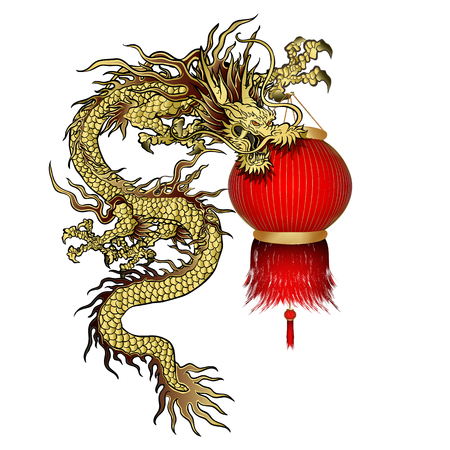 Vector illustration Traditional Chinese dragon with Chinese lanterns in the paw. Isolated object can be used with any image or separately. Vector Illustration