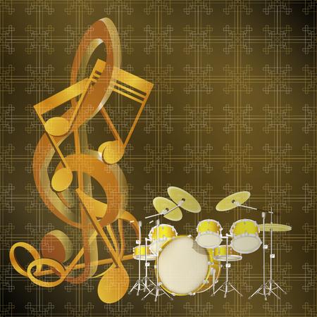 instrumentos de musica: Música de fondo señala en un kit de batería y de fondo sin fisuras con la textura y el patrón. El sustrato puede ser cambiado bajo la sizes.It necesario se puede utilizar como un diseño para carteles, publicidad y para cualquier texto. Vectores