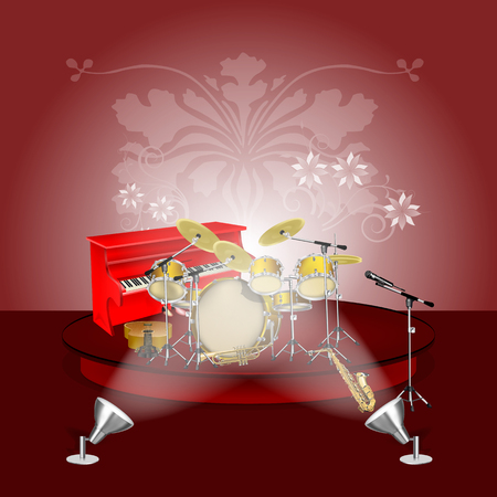 red drum: Vector drum kit, piano, saxophone, trumpet, microphone on the podium backlit with red background. You can use as a template for the posters or advertising with any text. Illustration