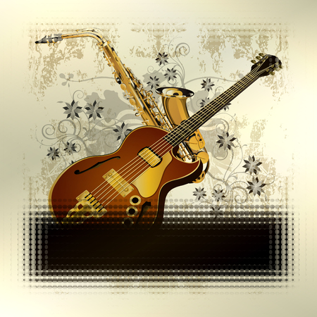 grunge music background: Vector illustration of a music background with tinted frames, guitar and saxophone on grunge background with a pattern. Can be used as a poster or advertising, tinted fit any text.