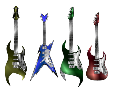 izole nesneleri: Rock electric guitars of different types. Isolated objects on a white background, can be used in any images and compositions. Çizim