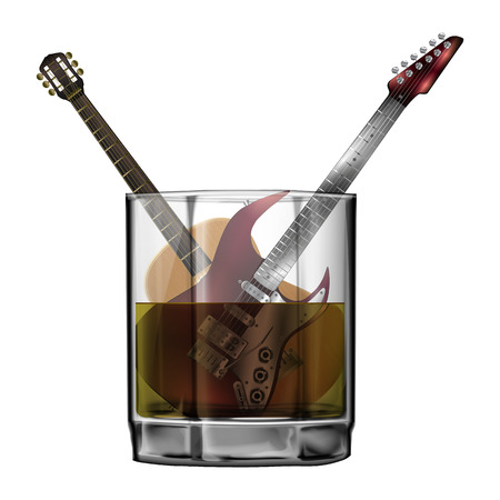 holiday music: Vector acoustic and electric guitar in a glass of whiskey or other alcohol. Isolated object on a white background can be used with any image.